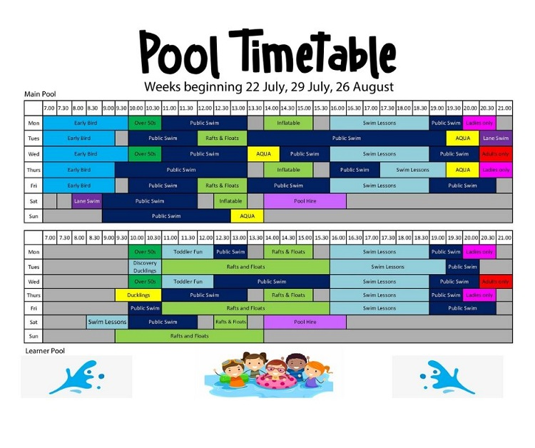 Summer Holiday - Pool Timetable