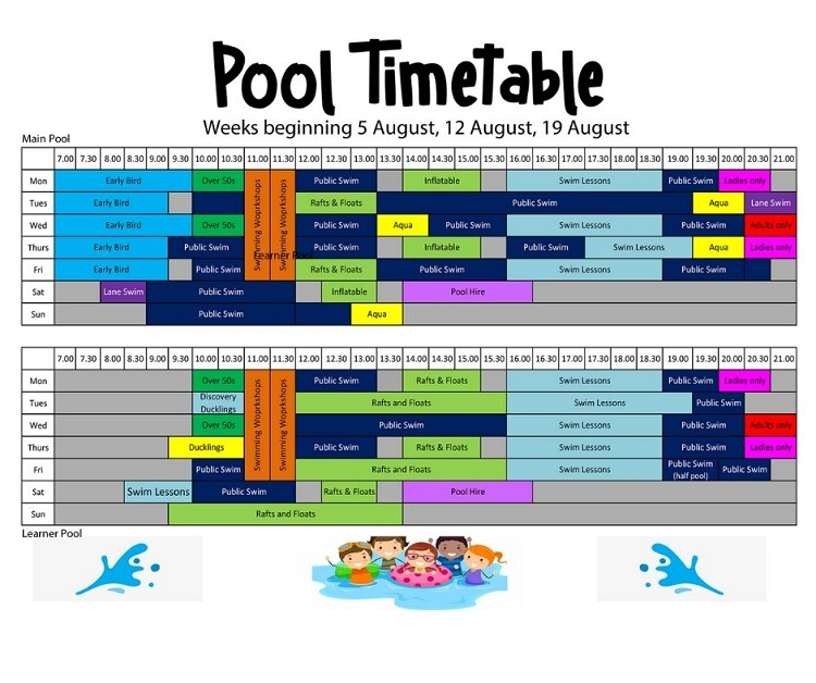 Summer Holiday - Pool Timetable 2