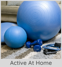 Active at home image of home gym equipment links to active at home page