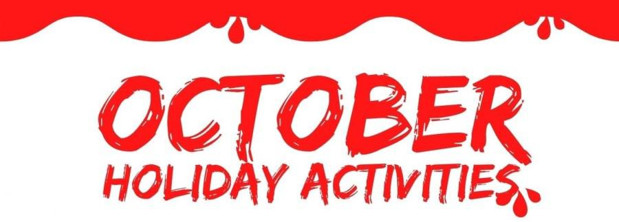 Red October holiday activity banner with dripping blood