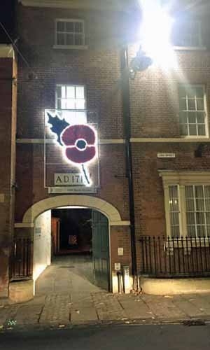 Old Bank House poppy at night