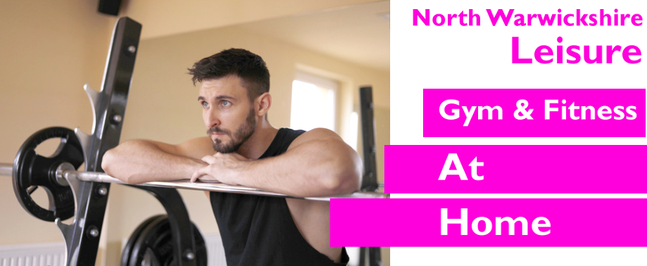 Banner image showing man doing weights at home