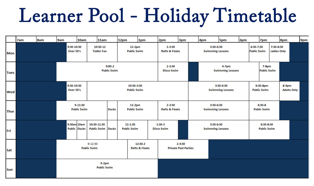 Learner pool holiday timetable