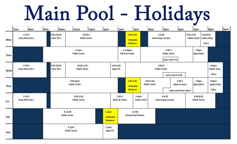 Main pool holidays